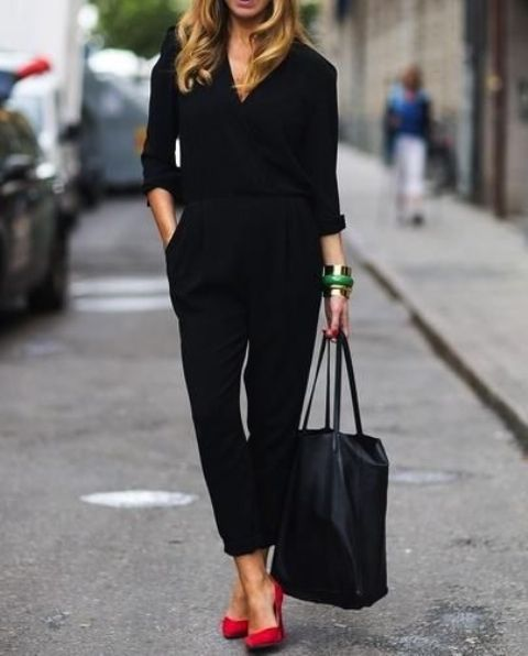 black jumpsuit and red shoes for a statement