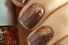 03 brown nails with copper and orange glitter