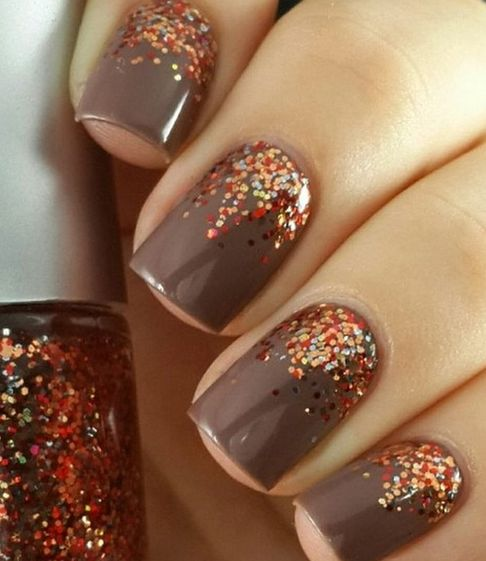 brown nails with copper and orange glitter