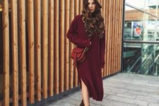 03 burgundy sweater dress, brown suede boots and a red bag
