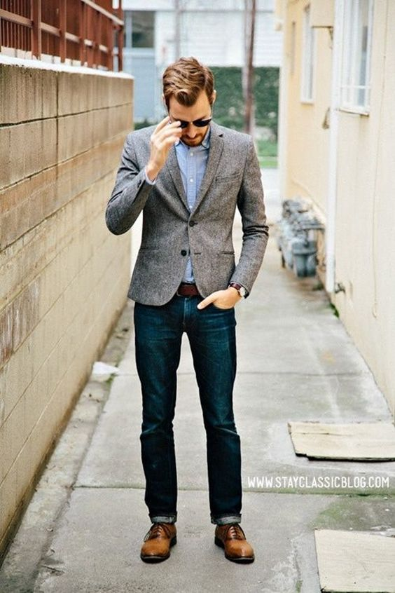 Dark denim, ocher shoes and a tweed jacket groom's outfit