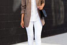 04 all-white with a tan jacket, grey shoes and a black bag