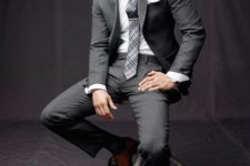 04 classic grey suit and tie and rich brown shoes to make an accent