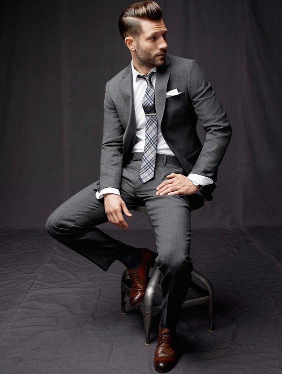 classic grey suit and tie and rich brown shoes to make an accent