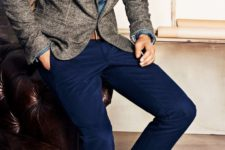 04 navy pants, a chambray shirt and a tweed jacket