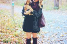 04 turtleneck sweater dress, a cardigan and burgundy stockings with ankle boots