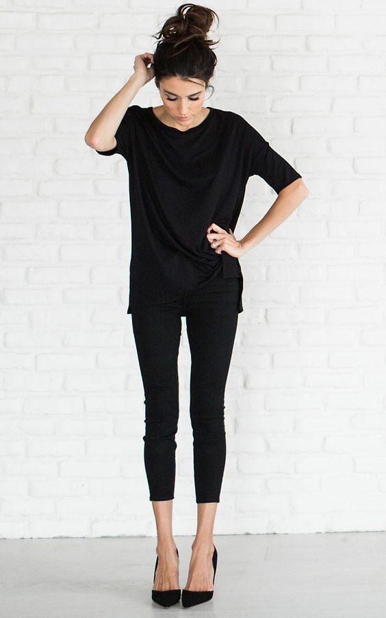 cropped leggings, an oversized tee and heels is suitable for work if your dress code isn't that strict