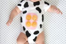05 easy cow costume in black and white with a hat