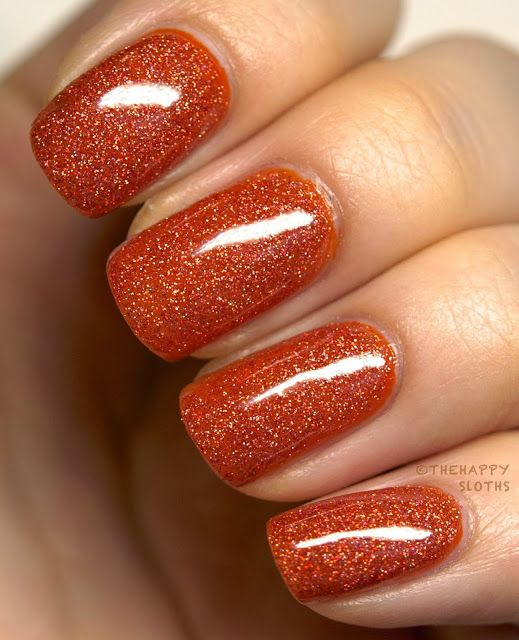 The Polish Playground Glittery Autumn Leaf Nail Art: 29 Cozy And Eye-Catchy Thanksgiving Nails Ideas