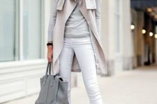 05 white jeans, a grey sweater and heels, a light grey coat