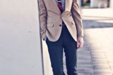 06 color blocking with neutrals (light brown and blue) is perfect for the fall