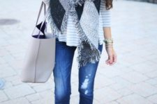 06 cuffed jeans, ankle boots and a grey striped sweater