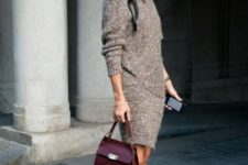 06 white chucks, a brown sweater dress and a burgundy bag
