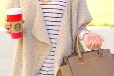 07 cozy ivory drape cardigan over a striped shirt
