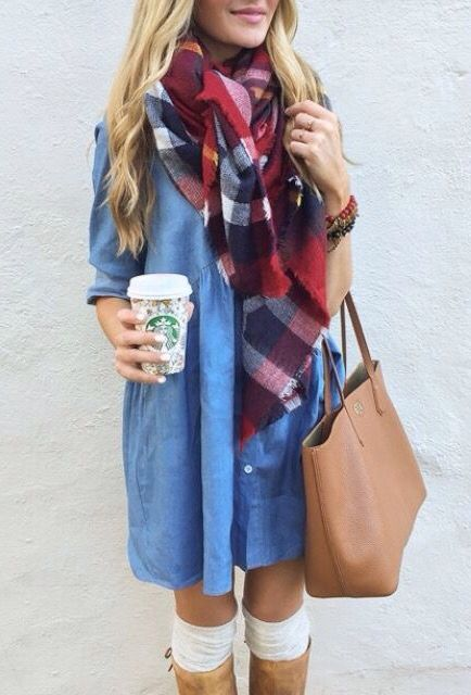 denim dress, a plaid scarf, leg warmers and high boots
