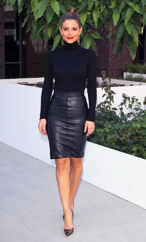 for the office switch a standard pencil skirt for a leather one and add a turtleneck