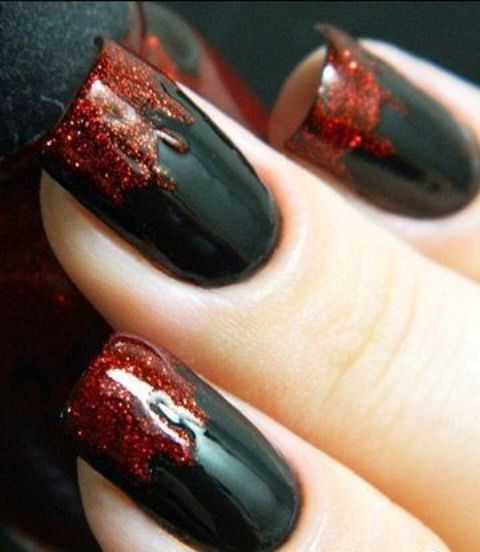 Picture of blood dripping nails with glitter red polish blood dripping nails with glitter red polish prinsesfo Choice Image