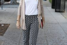08 cropped printed pants and boyfriend cardigan with flats or heels