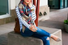 08 denim, a striped shirt, grey heels and a tartan scarf