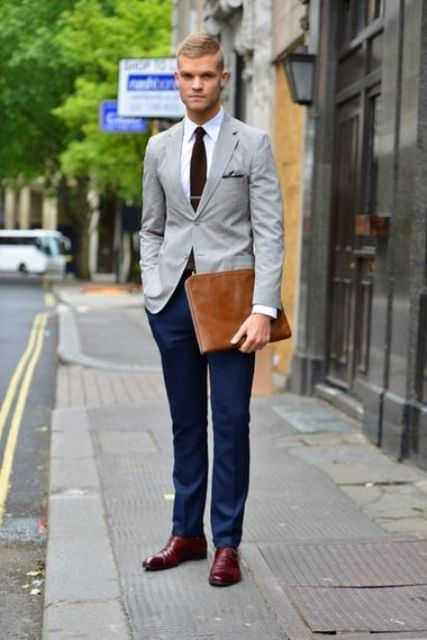light grey jacket, navy trousers, crimson boots and a brown tie (would work as a fall office outfit too)