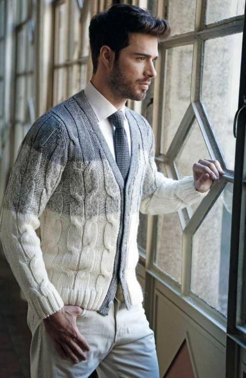 ombre grey cardigan paired with a white shirt and a grey tie