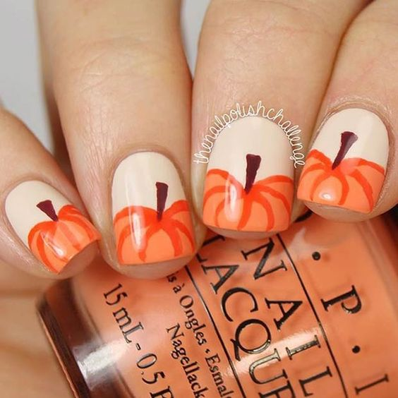 pumpkin nails for rustic coziness
