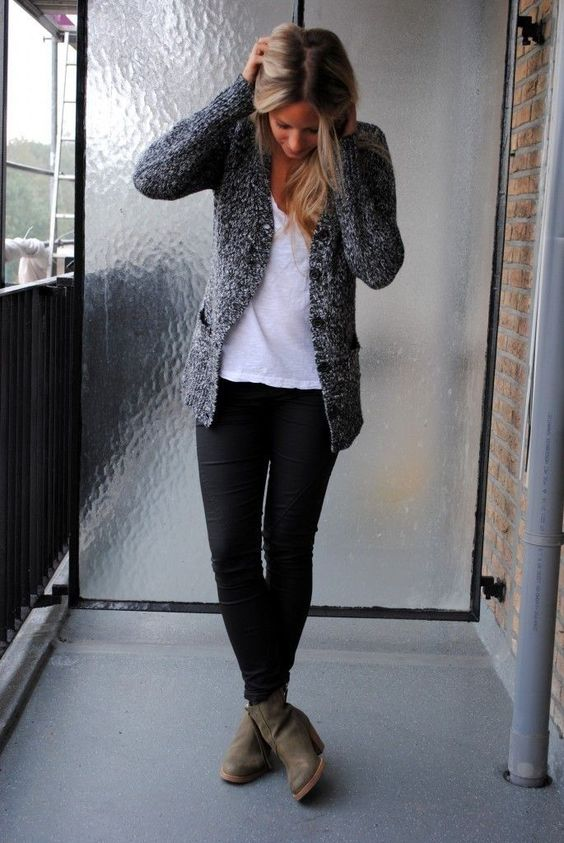 work look with black pants, a white tee and a grey cardigan