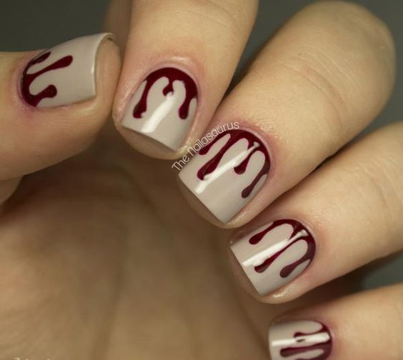 blood drip nail art
