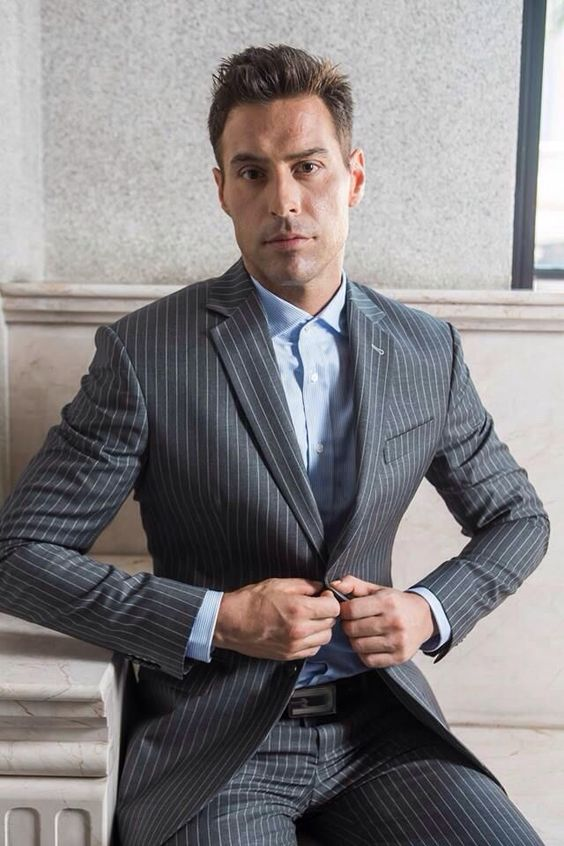 classic thin-striped grey suti with a blue shirt