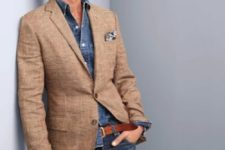 09 double denim and a peach tweed jacket