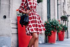 09 long-sleeved fit-and-flare dress, booties and a hat