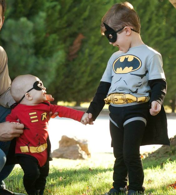 Batman and Robin costumes for two little brothers