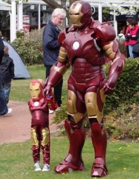 Iron Man costumes for dad and son