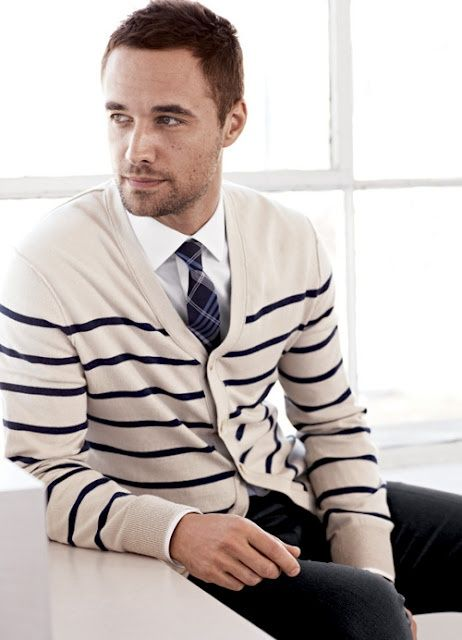 black denim, a striped cream and navy cardigan and a navy checked tie (great early fall choice)