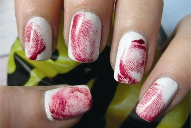 bloody fingerprint nails