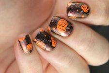 10 dark brown nails with pumpkins and polka dots
