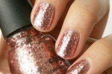 10 rose gold glitter nails are very feminine, perfect for spring and fall