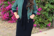 10 tie-waist bodycon black dress and an olive green bomber jacket