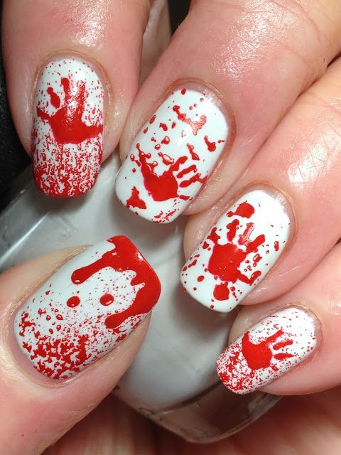 crazy bloody white nails