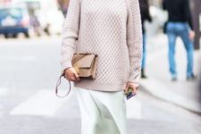 11 neutral sweater, a mint skirt and ankle boots