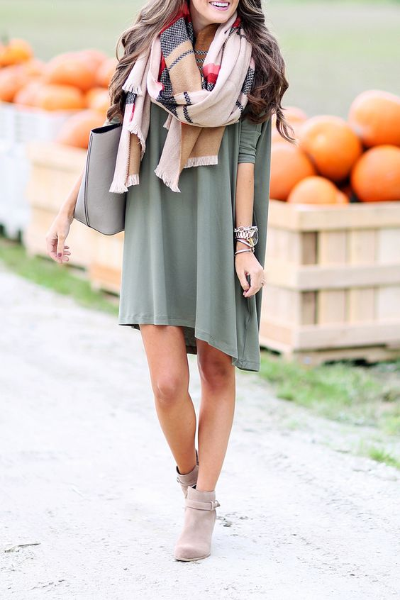 Picture Of Olive Green Dress And Brown Ankle Boots