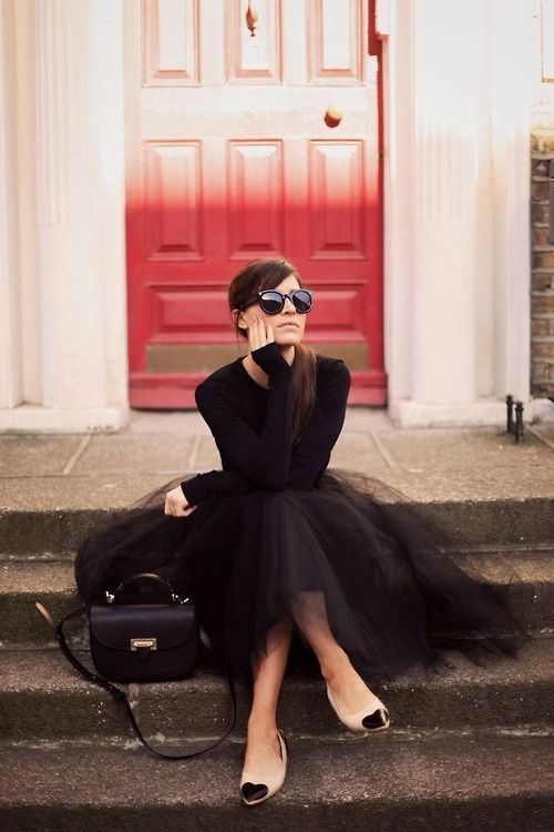 a jersey, a tulle skirt and nude flats with black hearts