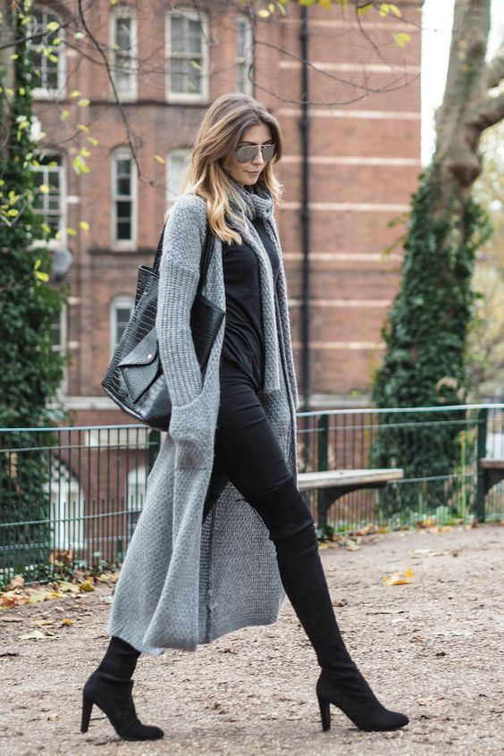 Picture Of Grey cardigan outfit