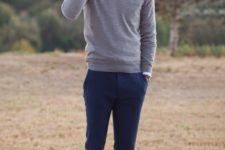 12 classic look with a blue shirt, grey sweater and navy pants