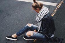 12 distressed denim, a black leather jacket, a blanket scarf