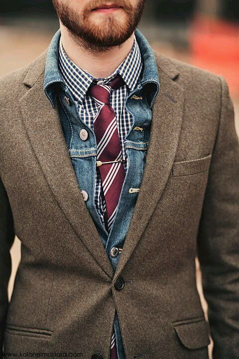 fall layering work outfit with a chambray shirt and a tie