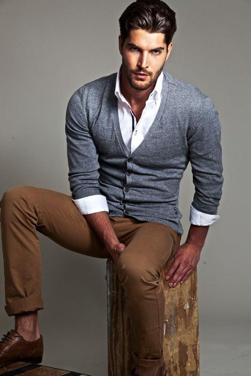 Picture Of grey cardigan, a white shirt and tan trousers
