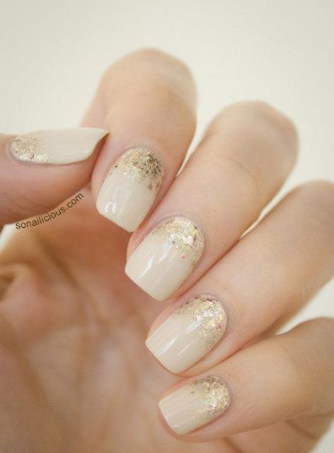 ivory nails with gold glitter