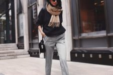 12 light grey cropped pants, a black sweater, heels and a scarf