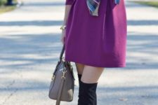 12 purple dress, a blanket scarf, high suede boots